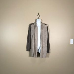 Theory Brown and Tan Open Front Cardigan